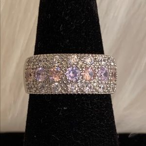 NWOT Sterling silver CZ, amethyst and Kunzite band